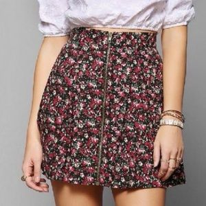 Pins & Needles Floral A-line Mini Skirt Zip Front